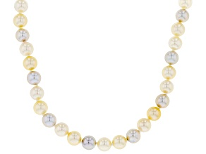 Pre-Owned 6-6.5mm Multi-Color Cultured Japanese Akoya Pearl 14k Yellow Gold 18 Inch Strand Necklace