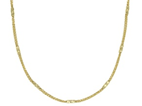 Pre-Owned 10K Yellow Gold 1.4MM Diamond Cut Wheat Chain Necklace  With Barrel Stations 18 Inch