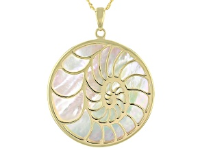 Pre-Owned White South Sea Mother-of-Pearl 18k Yellow Gold Over Sterling Silver Pendant With Chain