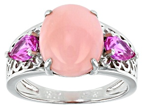 Pre-Owned Pink Opal Rhodium Over Silver Ring .71ctw