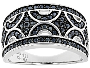 Pre-Owned Black Spinel Rhodium Over Sterling Silver Band Ring 0.86ctw