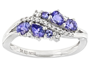 Pre-Owned Blue Tanzanite Rhodium Over Sterling Silver Ring 0.72ctw