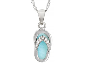 Pre-Owned Blue Larimar Rhodium Over Sterling Silver Flip-Flop Pendant with Chain .07ctw