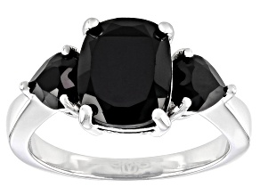 Pre-Owned Black Spinel Rhodium Over Sterling Silver 3-Stone Ring