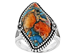 Pre-Owned Bended Turquoise and Spiny Oyster Shell Rhodium Over Silver Ring