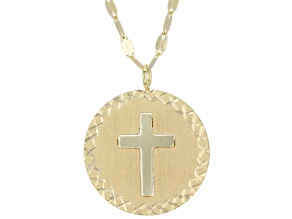 Pre-Owned 10K Yellow Gold Cross Valentino Necklace