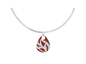 Pre-Owned Red Sponge Coral & White Zircon Rhodium Over Sterling Silver Pendant With Chain