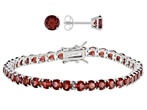 Pre-Owned Garnet Rhodium Over Silver Jewelry Set  13.36ctw