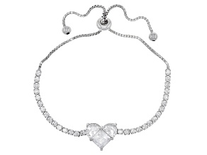 Pre-Owned White Cubic Zirconia Rhodium Over Sterling Silver Adjustable Bracelet 8.86ctw
