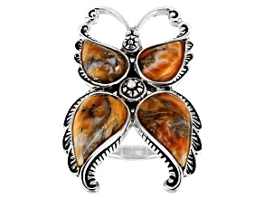 Pre-Owned Orange Spiny Oyster Shell Matrix Rhodium Over Silver Butterfly Ring