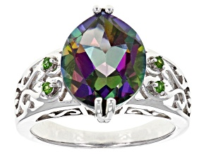 Pre-Owned Green Multicolor Quartz Sterling Silver Ring 4.09ctw