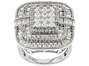 Pre-Owned White Cubic Zirconia Rhodium Over Sterling Silver Cluster Ring 6.00ctw