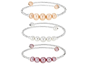 Pre-Owned Light Multi-Color Cultured Freshwater Pearl With Glass Bead Stainless Steel & Silver Bangl