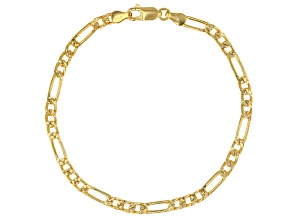 Pre-Owned 18K Yellow Gold Over Sterling Silver Figaro Link Bracelet