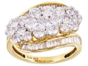 Pre-Owned White Cubic Zirconia 18k Yellow Gold Over Sterling Silver Ring 3.80ctw