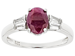 Pre-Owned Red Ruby Rhodium Over Sterling Silver Ring 1.15ctw