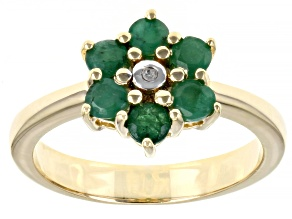 Pre-Owned Green Emerald 18k Yellow Gold Over Sterling Silver Ring 0.66ctw