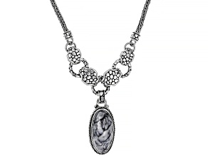 Pre-Owned Pinolith Cabochon Sterling Silver Necklace