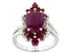 Pre-Owned Red Ruby Rhodium Over Sterling Silver Ring 4.57ctw