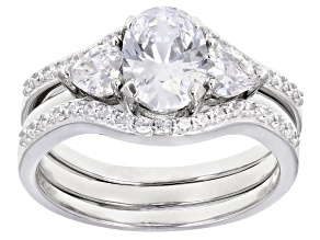Pre-Owned White Cubic Zirconia Rhodium Over Sterling Silver Ring With Two Bands 3.42ctw