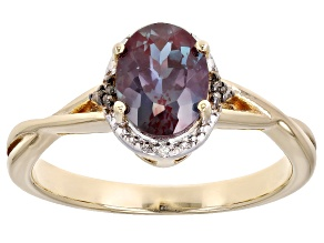 Pre-Owned Blue Lab Created Alexandrite 18K Yellow Gold Over Sterling Silver Ring. 1.25ctw