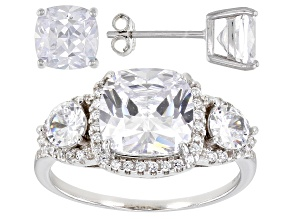 Pre-Owned Cubic Zirconia Rhodium Over Sterling Silver Ring And Earring Set 10.11ctw   (6.35 DEW)