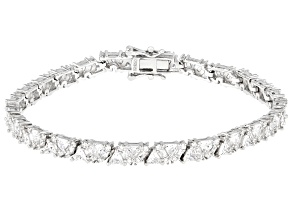 Pre-Owned White Cubic Zirconia Rhodium Over Sterling Silver Tennis Bracelet 13.82ctw