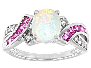 Pre-Owned White Lab Created Opal Rhodium Over Sterling Silver Ring 1.60ctw