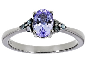 Pre-Owned Blue Tanzanite Black Rhodium Over Sterling Silver Ring 0.72ctw