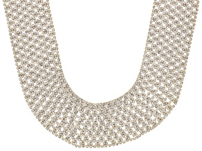 Pre-Owned White Crystal Gold Tone Collar Necklace