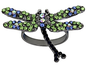 Pre-Owned Off Park ® Collection Green Crystal Gunmetal Dragonfly Ring