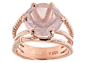 Pre-Owned Rose Quartz 18K Rose Gold Over Sterling Silver Ring. 5.00ctw