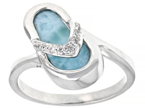 Pre-Owned Blue Larimar Rhodium Over Sterling Silver Flip-Flop Ring .07ctw