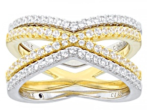 Pre-Owned White Cubic Zirconia Platineve® & 18k Yellow Gold Over Sterling Silver Ring Set of 3 1.19c
