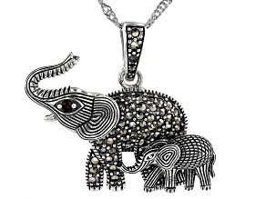 Pre-Owned Gray marcasite silver elephant pendant with chain .04ct