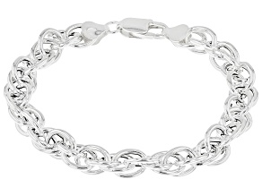 """Pre-Owned Sterling Silver Torchon Rope 7.75"""" Bracelet"""