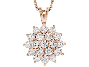 Pre-Owned White Lab Created Sapphire 18k Rose Gold Over Sterling Silver Pendant With Chain 2.10ctw