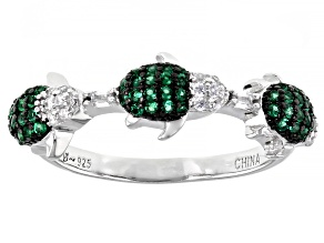 Pre-Owned Emerald Simulant And White Cubic Zirconia Rhodium Over Silver Turtle Ring 0.55ctw