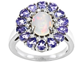Pre-Owned Ethiopian Opal Rhodium Over Silver Ring