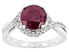 Pre-Owned Red Ruby Rhodium Over Sterling Silver Ring 2.35ctw
