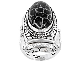 Pre-Owned Black Indonesian Coral Silver Locket Ring