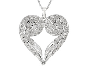 Pre-Owned White Diamond Rhodium Over Sterling Silver Angel Wing Heart Pendant With Chain 0.55ctw