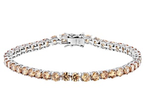 Pre-Owned Champagne Cubic Zirconia Rhodium Over Sterling Silver Tennis Bracelet 17.80ctw