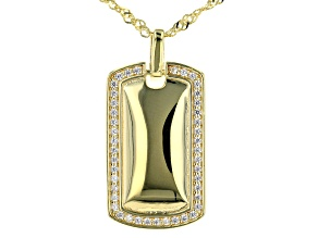 Pre-Owned White Cubic Zirconia 18k Yellow Gold Over Sterling Silver Pendant With Chain 0.34ctw