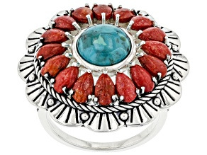 Pre-Owned Turquoise with Pear Shaped Coral Rhodium Over Sterling Silver Floral Ring