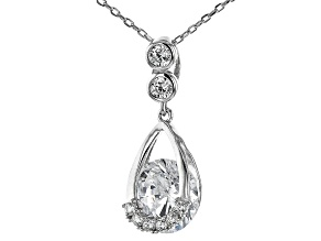 Pre-Owned White Cubic Zirconia Rhodium Over Sterling Silver Pendant With Chain 4.30ctw