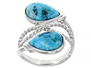 Pre-Owned Blue Turquoise Rhodium Over Sterling Silver Bypass Ring