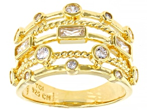 Pre-Owned White Cubic Zirconia 18K Yellow Gold Over Sterling Silver Ring 1.40ctw