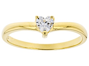 Pre-Owned White Cubic Zirconia 18K Yellow Gold Over Sterling Silver Heart Promise Ring 0.37ctw