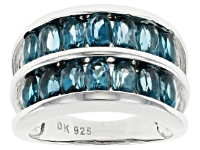 Pre-Owned Blue Topaz Rhodium Over Sterling Silver Band Ring 3.00ctw